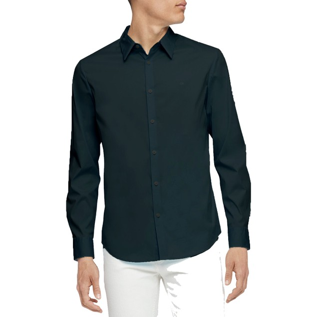 Calvin Klein Men's Slim-Fit Stretch Solid Shirt Black Size X-Small