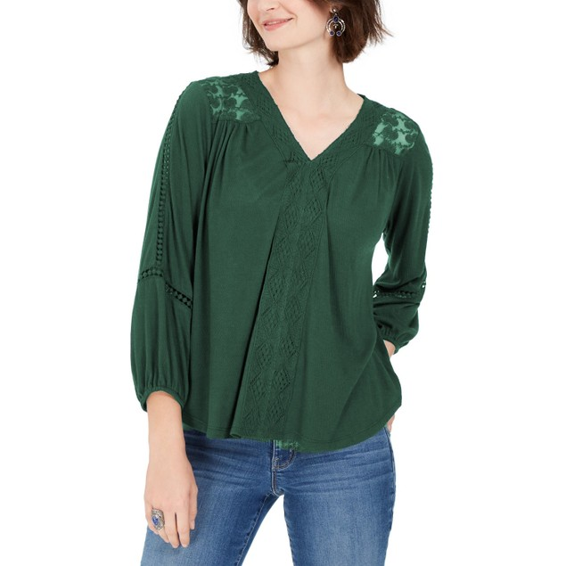 Style & Co. Women's Lace-Back Crochet Top Green Size X-Large