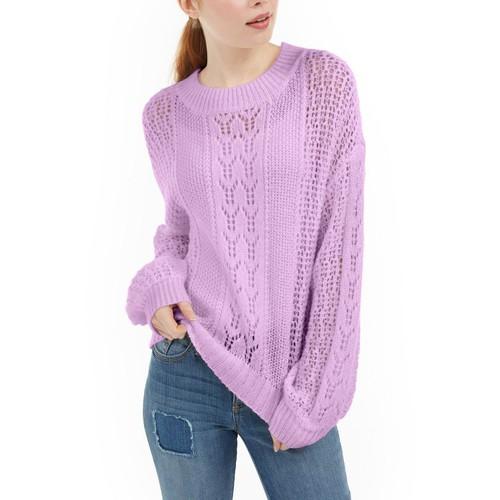 Ultra Flirt Men's Juniors' Striped Balloon-Sleeve Sweater Purple Size Large