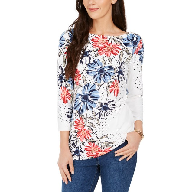 Charter Club Women's Polka Dot Floral Print Top White Size Extra Large