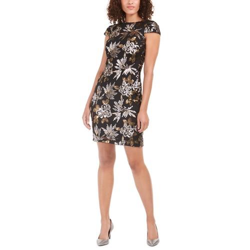 Calvin Klein Women's Sequined Cowl-Back Dress Black Size 12