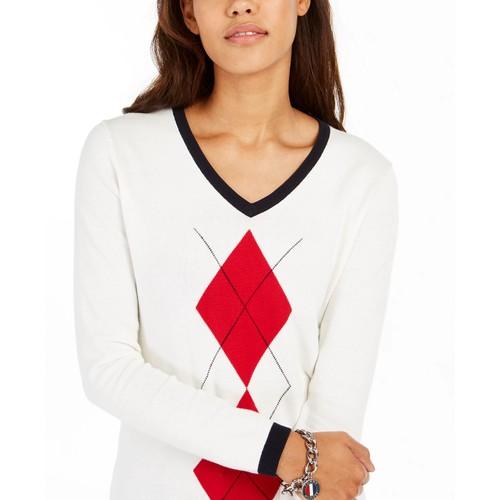 Tommy Hilfiger Women's Argyle Ivy Cotton Sweater White Size Medium