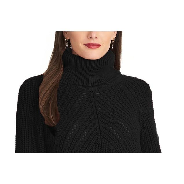 Rachel Roy Women's Edie Open-Knit Turtleneck Sweater Black Size Extra Large
