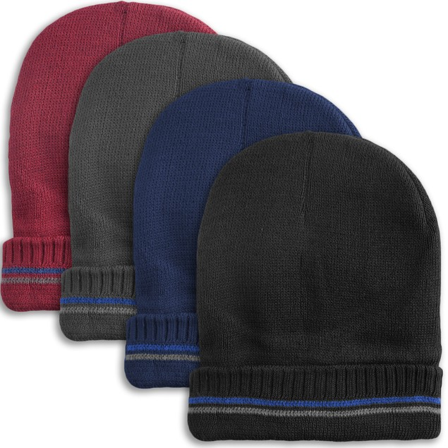 4-Pack Men's Thermal Fleece Lined Baggy Fold Over Winter Hat