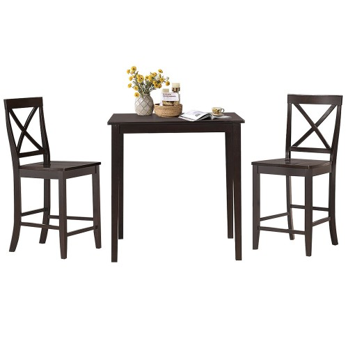 Costway 3-Piece Kitchen Dining Set Counter-Height Square Table with 2 Chair