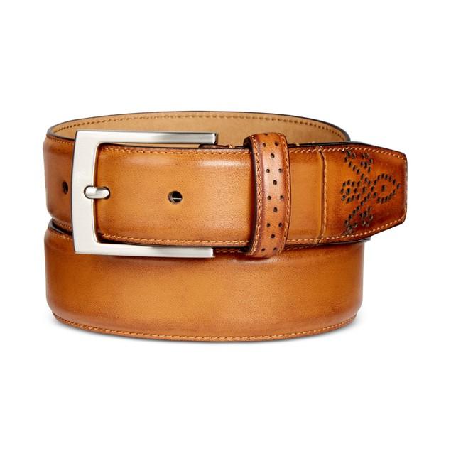 Tasso Elba Mens Feather Edge Belt Beige Size 38 Regular