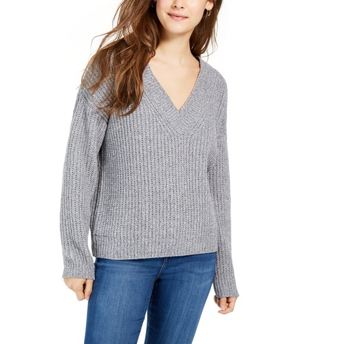 Hippie Rose Juniors' V-Neck Chenille Sweater Black Size Large