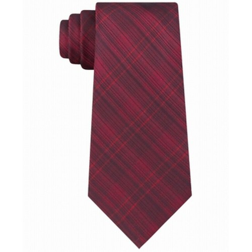 Kenneth Cole Reaction Men's Slim Tonal Iridescent Check Tie Red One Size