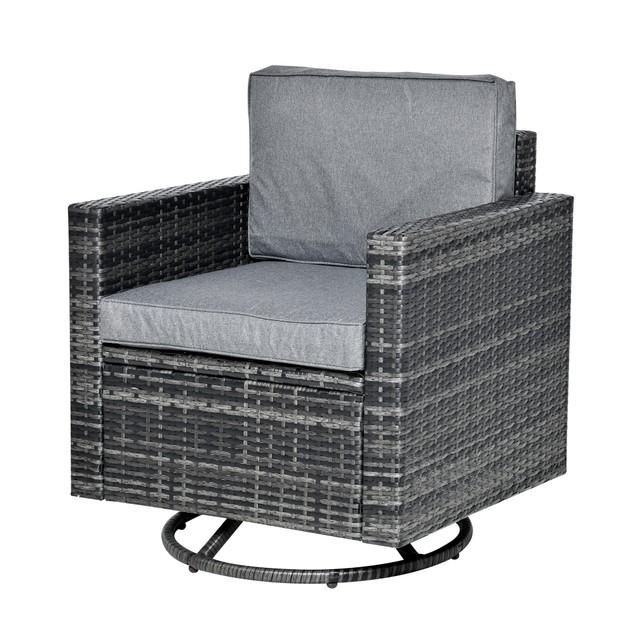 Rattan Wicker Swivel Rocking Chair w Strong Metal Frame&Soft Cushion