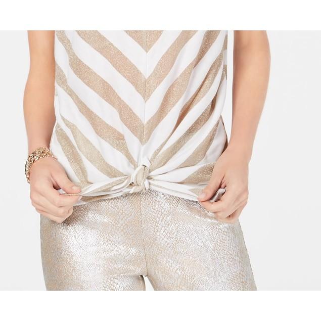 INC International Concepts Women's Petite Metallic-StripeTop White Size 44