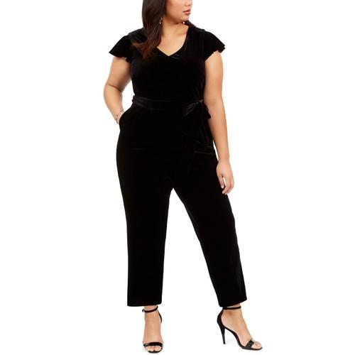 Jessica Howard Women's Plus Size Velvet Belted Jumpsuit Black Size 24