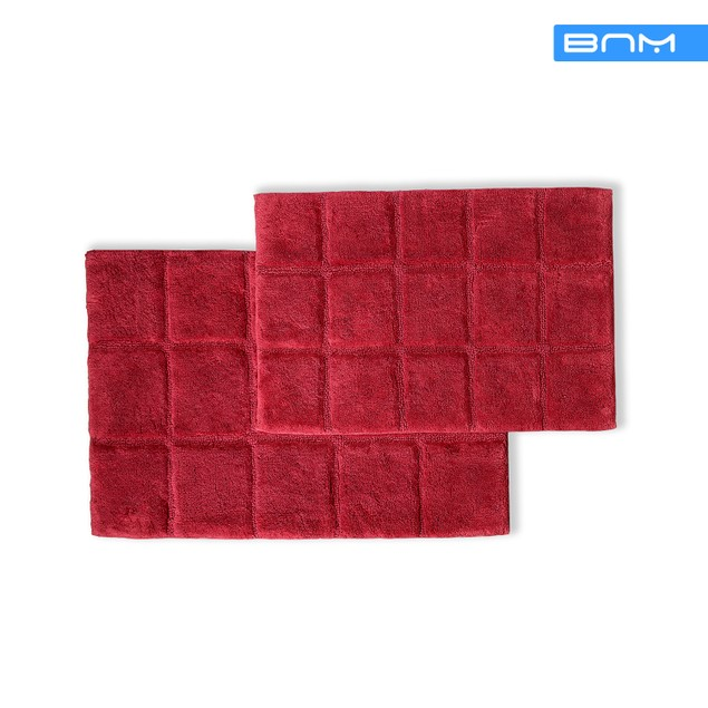 Checkered Non-Slip Cotton 2-Piece Bath Rug Set by Blue Nile Mills