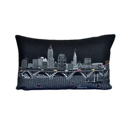Spura Home Cleveland Printed Skyline Embroidered Cushion Day/Night Setting