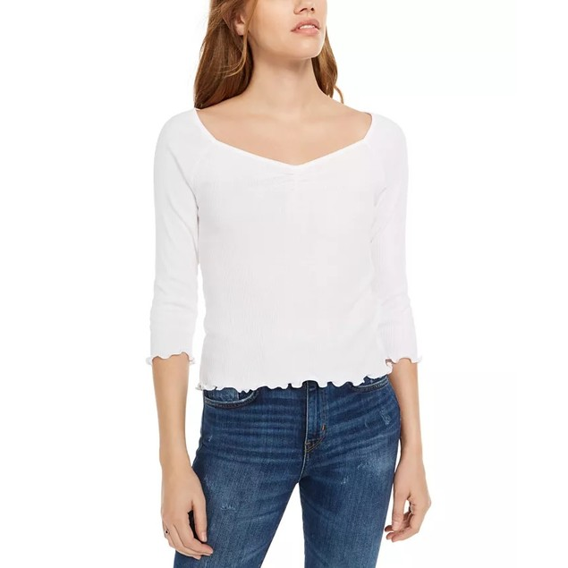 Planet Gold Junior's Ribbed Sweetheart Top White Size Large
