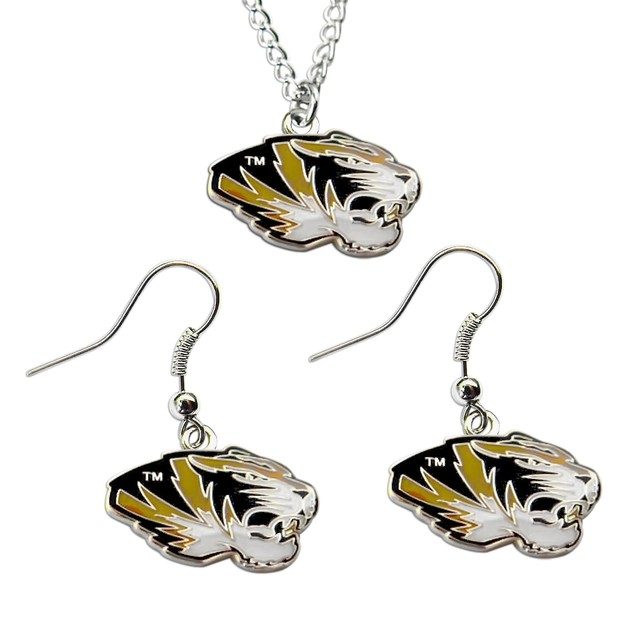 Missouri Tigers NCAA Necklace And Dangle Earring Set Charm