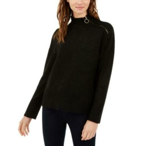 INC International Concepts. Women's Side Zip-Up Sweater Black Size Large