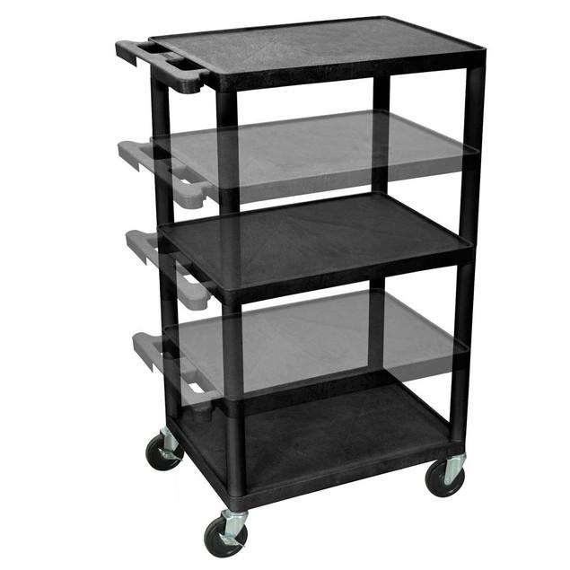 """Luxor 42"""" Three Flat Shelves Multi - Height AV Cart - Black"""