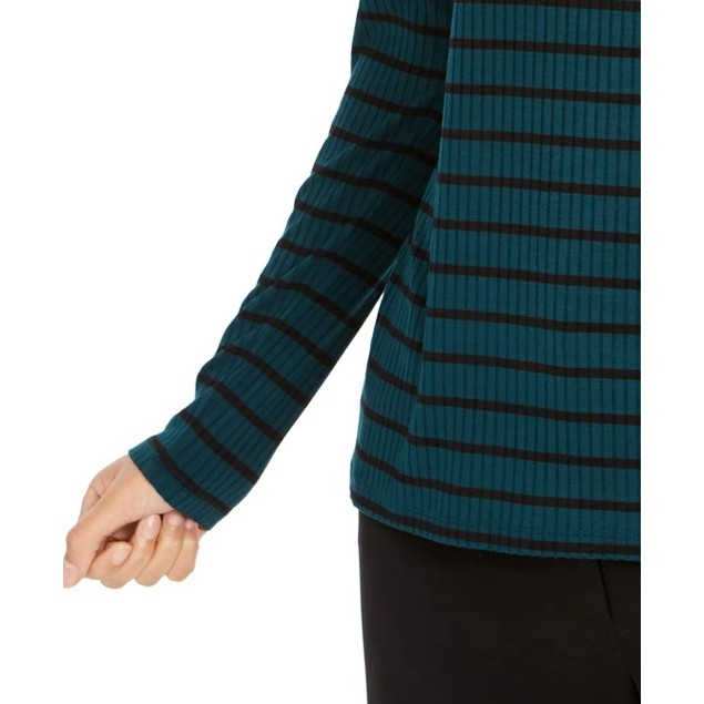 Charter Club Women's Striped Turtleneck Top Dark Green Size X-Large