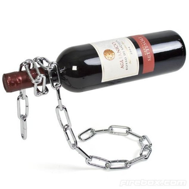 Eravino Novelty Magic Floating Steel Link Chain Wine Bottle Rack/Holder