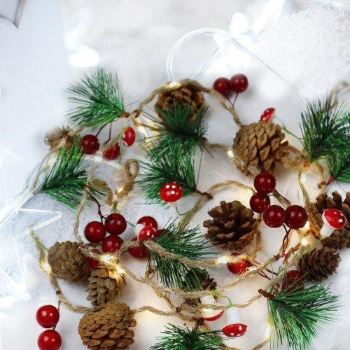 Rustic Garland Pinecones, Twine, Berries Christmas LED Lights 6 FT - Multiple Styles