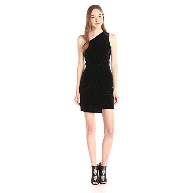 BCBGeneration Women's Asymmetrical Drape Dress, Black, Sz Large