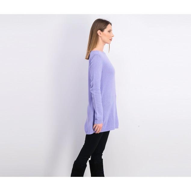Karen Scott Women's Solid Curved-Hem Tunic Purple Size Large