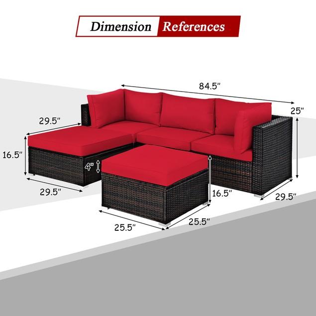 Costway 5PCS Patio Rattan Furniture Set Sectional Conversation Set Ottoman