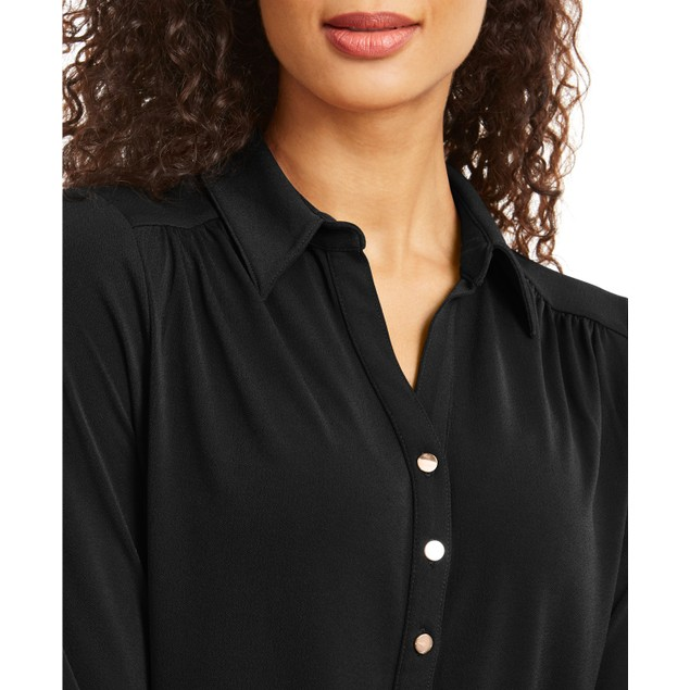 Charter Club Women's Knit Polo Shirt Black Size Small