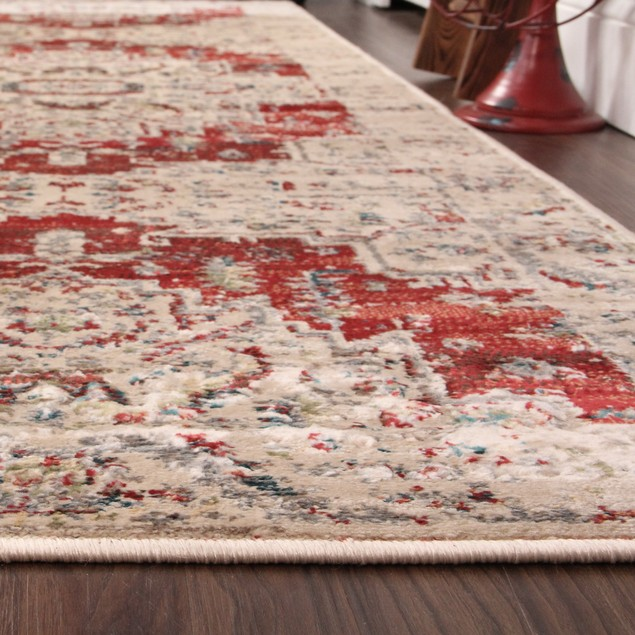 Rustic Indoor Area Rug Collection, Textured Distressed Medallion Runner Rug