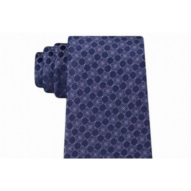 Calvin Klein Men's Classic Medallion Silk Tie Purple Size Regular