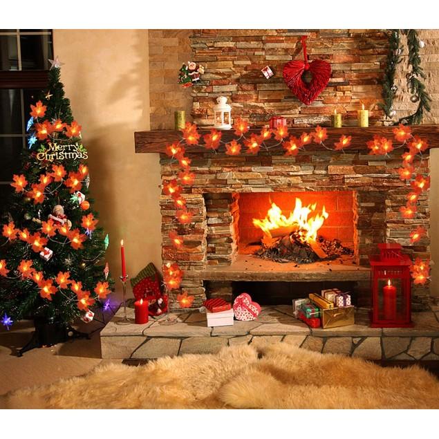 40 LED Maple Leaves Indoor/Outdoor Garland String Lights