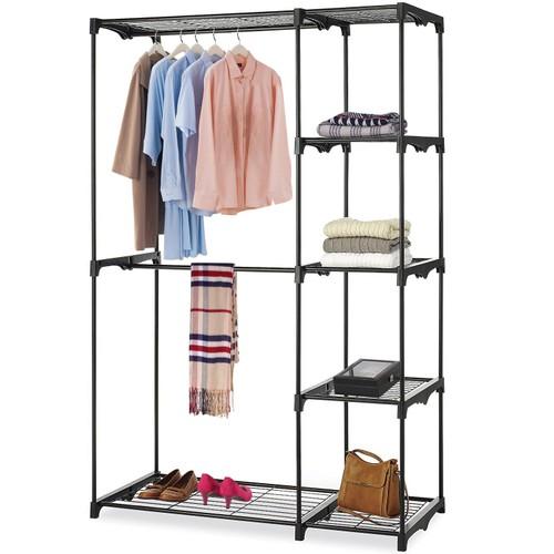 Metal Closet Deluxe Double Rod Freestanding Closet Clothes Storage Organizer
