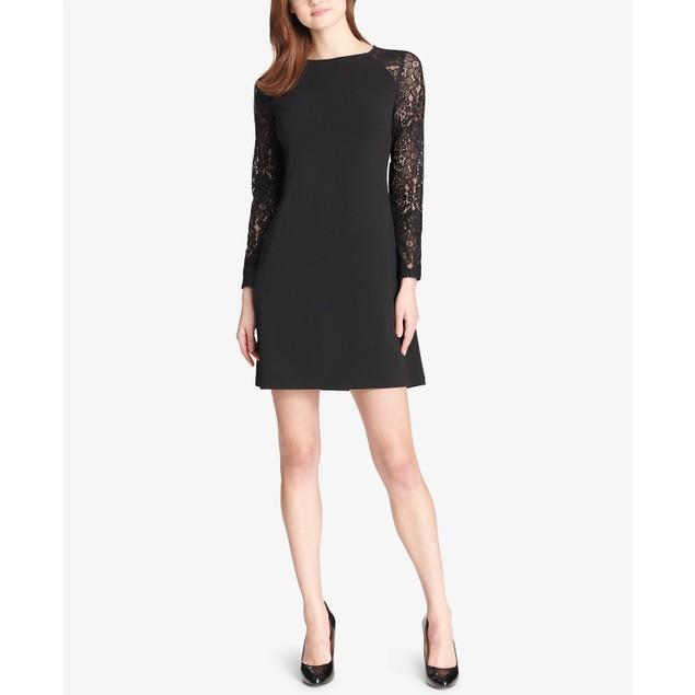 Tommy Hilfiger Women's Lace-Sleeve A-Line Dress Black Size 4