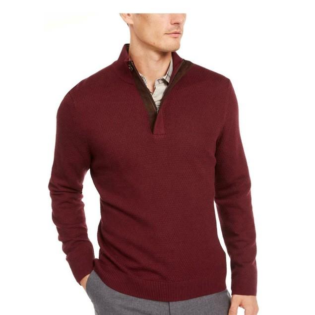 Tasso Elba Men's Supima Cotton Textured 1/4-Zip Sweater Brown Size Large