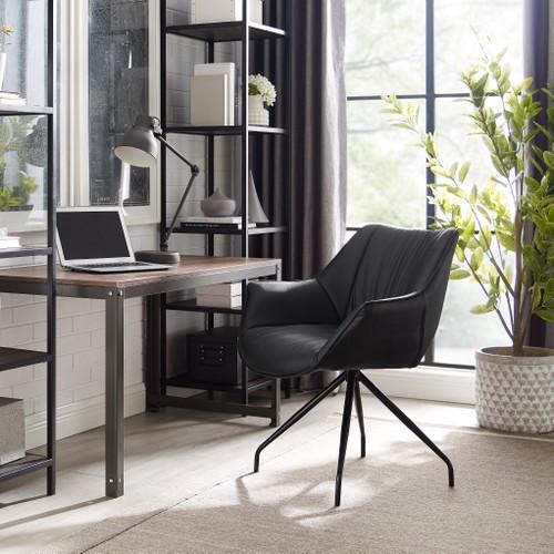 Art-Leon Modern Faux Leather Desk Chair with Black Metal Legs