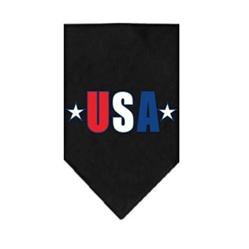 Mirage Red, White and Blue USA Star Screen Print on Black Bandana (Small)