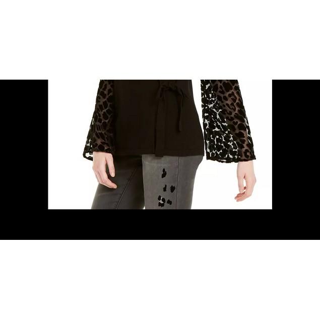 INC International Concepts Women's Velvet Burnout Sweater Black Size Medium