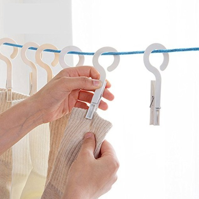Set of 10 Laundry Hook Hanger Clothes Hanging Clips Plastic Hanger