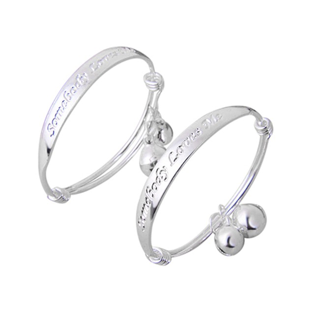 2pcs Silver Plated Baby Bell Bangle Bracelet