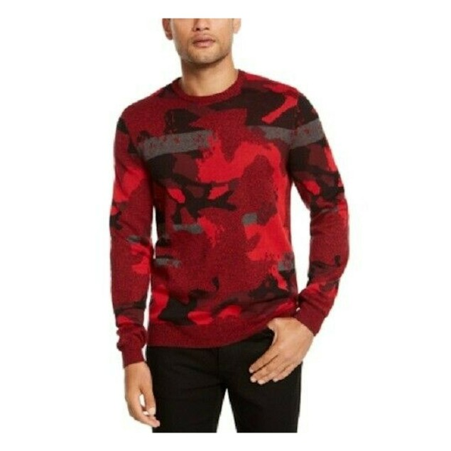 Alfani Men's Abstract Jacquard Crewneck Sweater Red Size Large