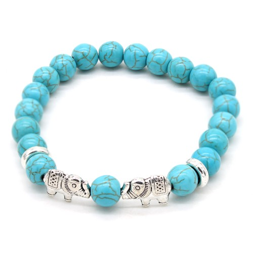 Turquoise Ball Bead Elephant Bracelet