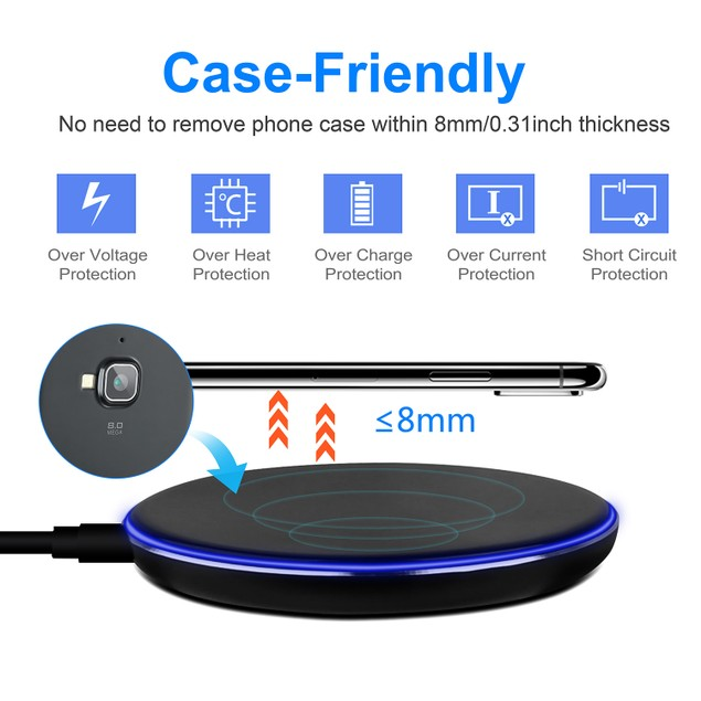 Wireless Charger Qi-Certified Ultra-Slim 5W Charging Pad