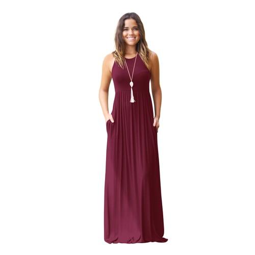 Women's Sleeveless Racerback Loose Plain Maxi Dresses with Pockets