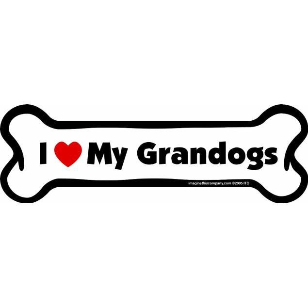 I Love My Granddogs Bone Magnet