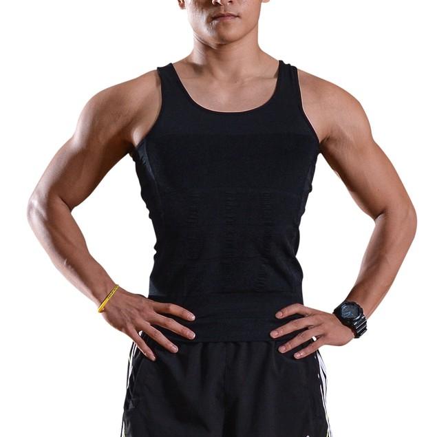 Men Elastic Slimming body shaper Vest Shirt Lose Weight - L Size