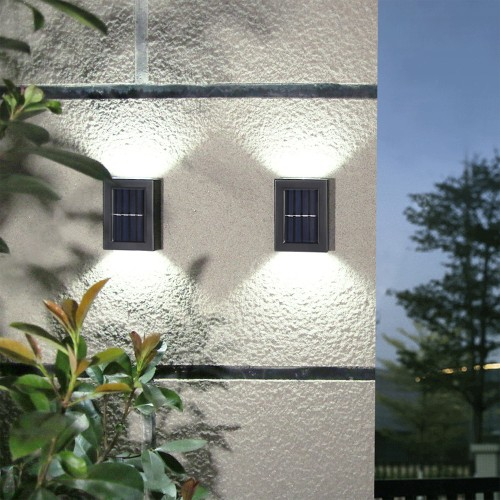 2 Pack Solar Outdoor Wall Lights LED Square Up and Down Waterproof Lamps