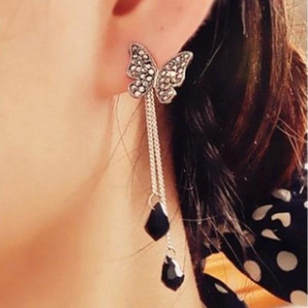 Cute Rhinestone Tassel Butterfly Pendant Earrings