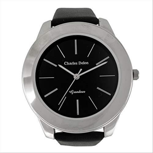 Charles Delon Men's Watches 5119 GPBB Black/Silver Leather Quartz Round Analog