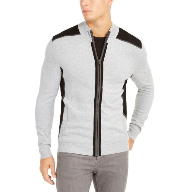 Alfani Classic-Fit Colorblocked Full-Zip Cardigan Grey 2 Extra Large