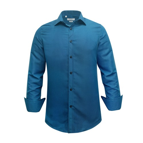 Monza Modern Fit Long Sleeve Teal Solid Dress Shirt